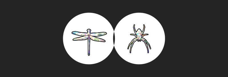 ΑΛΓ Art: Pearly dragonfly & spider